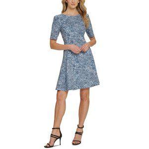 DKNY Puff-Sleeve Fit & Flare Dress